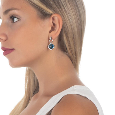 Pendant earrings with crystal blue montana and zircons