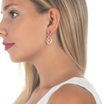 Pendant earrings with crystal peach and zircons