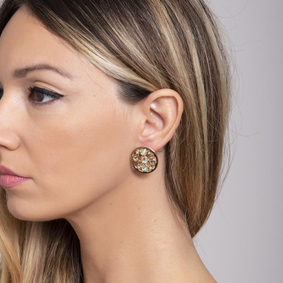 Earrings in the lobe Gold Plated yellow with Swarovski