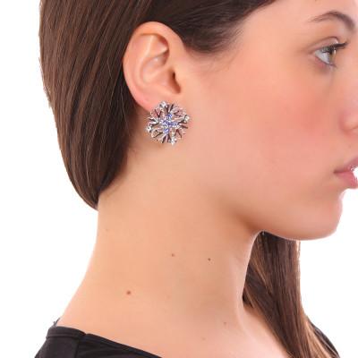 Coral lobe earrings and blue Swarovski