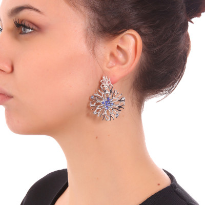 Coral and blue Swarovski earrings