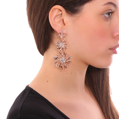 Coral pendant earrings and Swarovski crystal