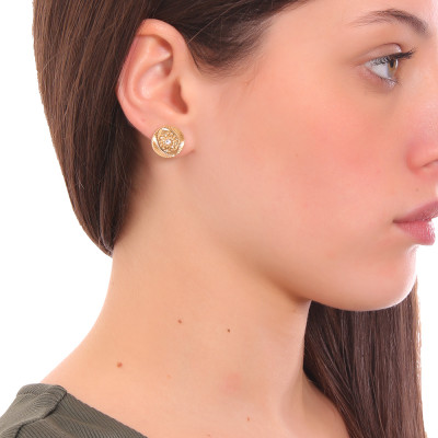 Yellow gold plated lobe earrings with Horus eye and Swarovski