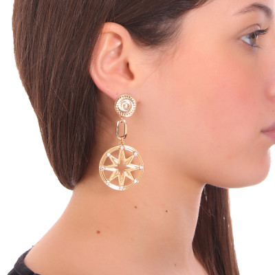 Yellow gold plated earrings flower of life and Swarovski