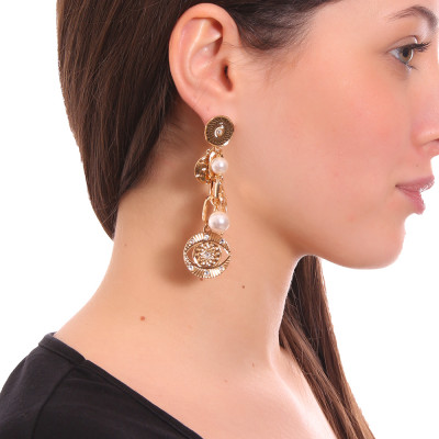 Earrings of yellow gold plated eye of Horus and Swarovski pearls
