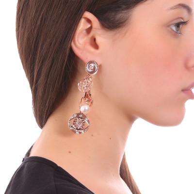 Horus eye rose gold plated earrings and Swarovski pearls