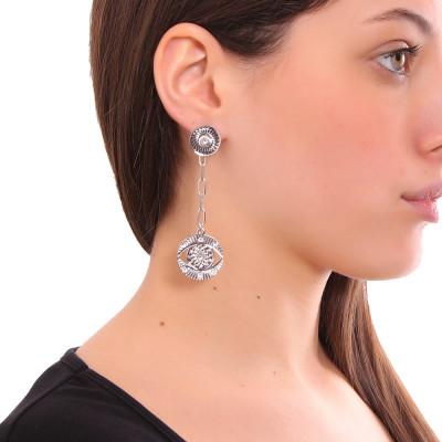 Rhodium-plated earrings with Horus and Swarovski eye pendant