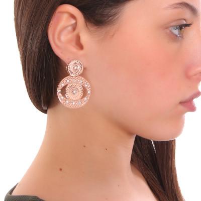 Pendant earrings rose gold plated eye of Horus with Swarovski