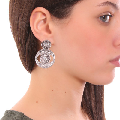 Rhodium-plated pendant earrings with Horus eye with Swarovski