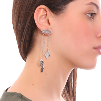 Rhodium-plated double earrings with oak leaves