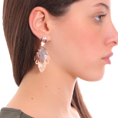 Rose gold plated earrings with two hanging oak leaves