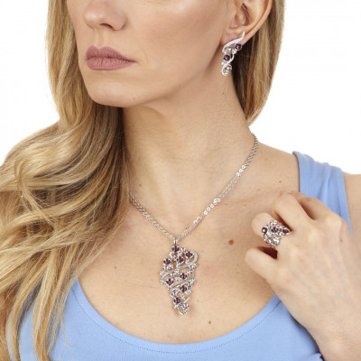 Stud earrings with Swarovski crystal, light amethyst and amethyst