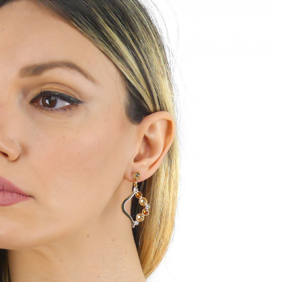 Pendant earrings with Swarovski crystal, copper and golden shadow