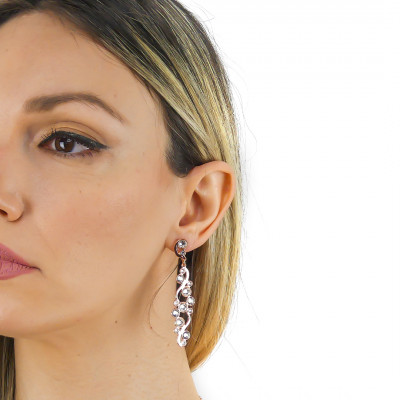 Earrings with Swarovski crystal and blue shade