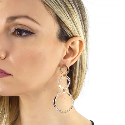 Yellow gold plated earrings with degraded circles and Swarovski