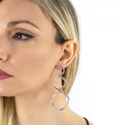 Rose gold plated earrings with degraded circles and Swarovski