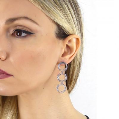 Hanging hoop earrings with Swarovski