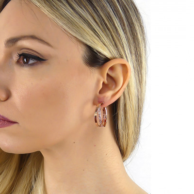 Rose gold plated creole earrings with Swarovski