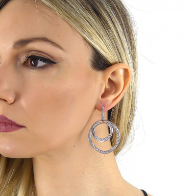 Double circle earrings with Swarovski