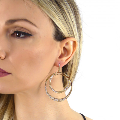 Double circle maxi earrings yellow gold plated with Swarovski