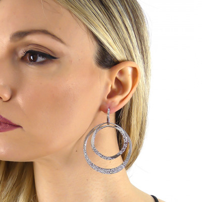 Double maxi hoop earrings with Swarovski