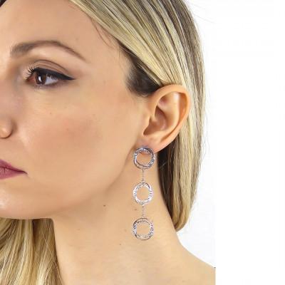 Pendent hoop earrings with Swarovski