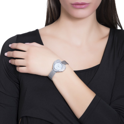 Silver watch with heart-shaped dial and Swarovski pavé
