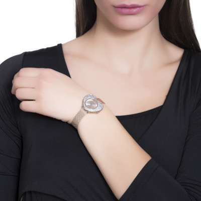 Rose gold watch with heart-shaped dial and Swarovski pavé