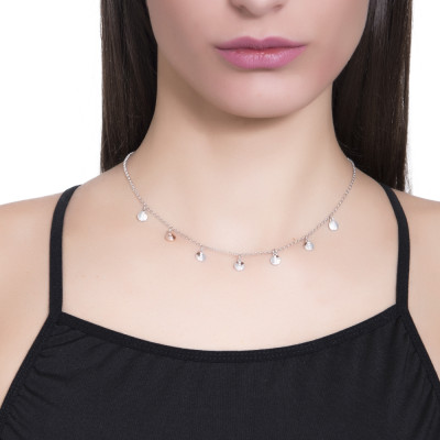 Silver necklace with bicolor charms