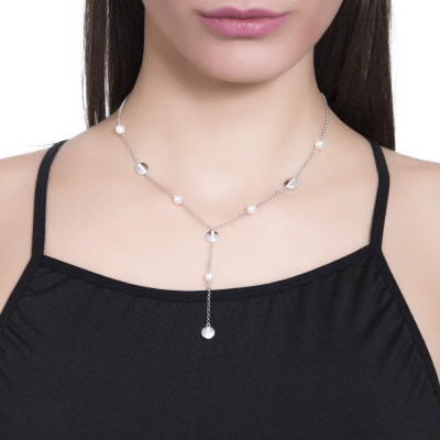 Necklace bow tie with Swarovski pearls and circular elements with cubic zirconia