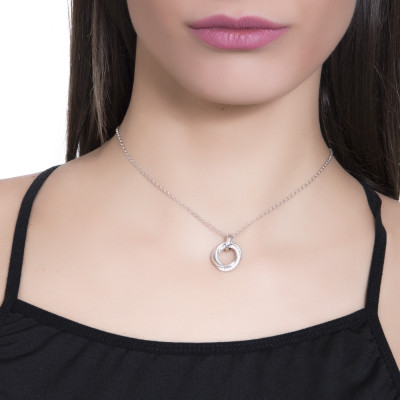 Necklace with pendant with smooth intertwined circles and zircons