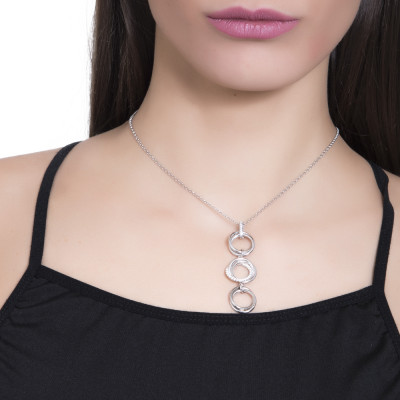 Necklace with smooth intertwined circles and pendent zircons