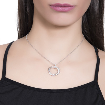 Silver necklace with circular pendant and zircons