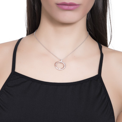 Silver bicolor necklace with circular pendant and zircons