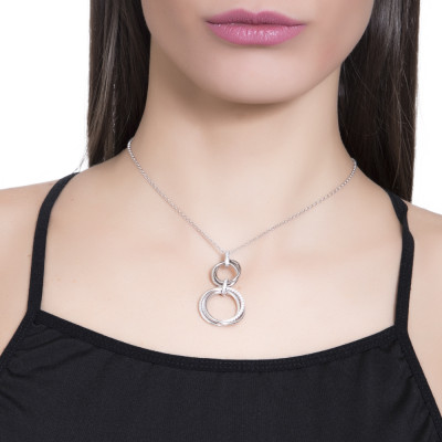 Necklace with two groups of hanging braided circles