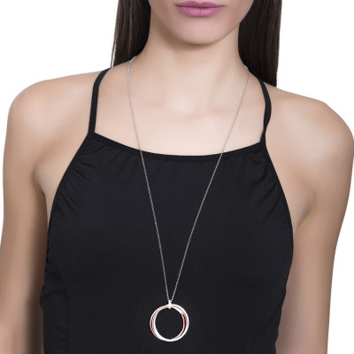 Silver bicolor necklace with maxi smooth pendant and zircons