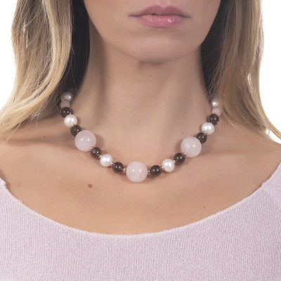 Necklace with natural pearls, smoky quartz and rose quartz