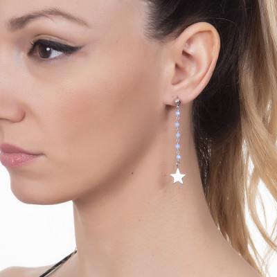 Earrings with celestial crystals and final star