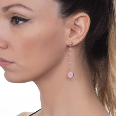 Rosé earrings with crystals and rose milk pendant