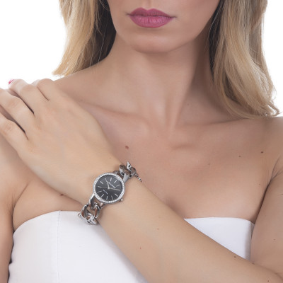 Wristwatch woman with groumette Bracelet and double ring wire Swarovski