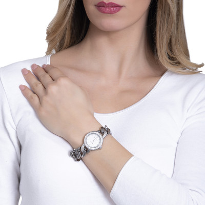 Wristwatch woman with double ring wire Swarovski and Bracelet groumette rosato