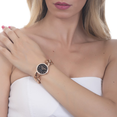 Wristwatch woman with black dial, Swarovski and groumette Bracelet