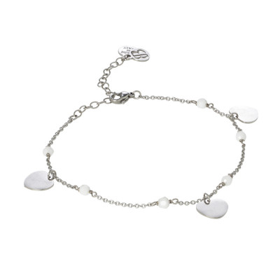 Ankle brace with Swarovski white alabaster and charms in the shape of a heart
