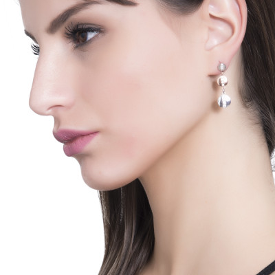 Two-tone dangle earrings with cubic zirconia
