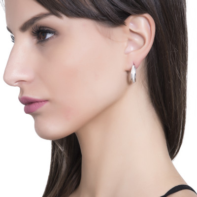 Silver crescent earrings with cubic zirconia