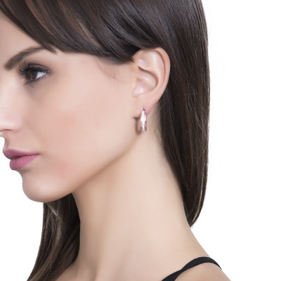 Crescent earrings in rose gold-plated silver and cubic zirconia