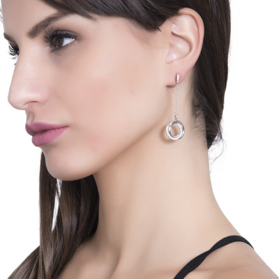 Dangle earrings with smooth intertwined circles and zircons