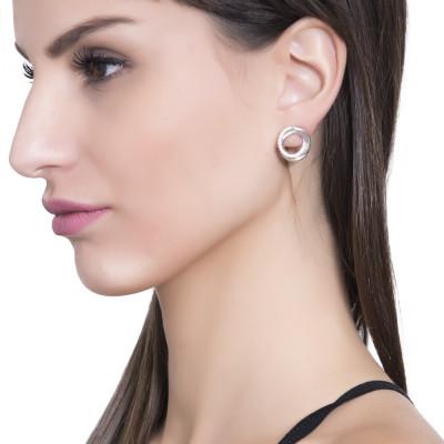 Circular lobe earrings with cubic zirconia