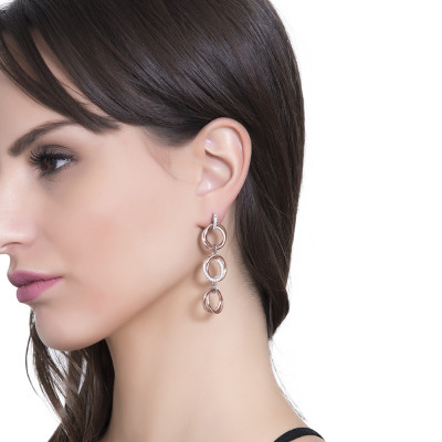 Pink gold plated pendant earrings with intertwined circles and zircons