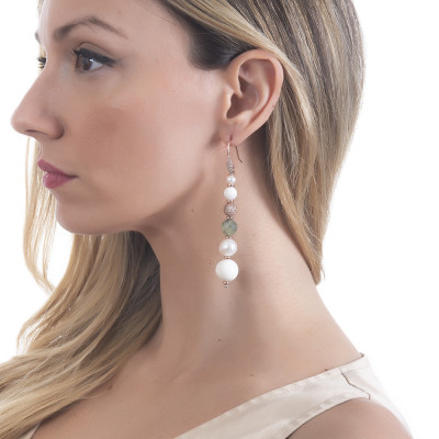 Drop earrings with natural pearls, garnet and white agate